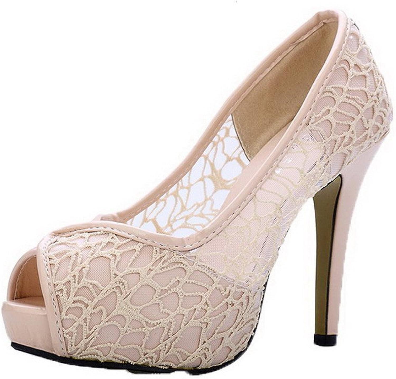 WeenFashion Women's Solid Blend Materials High-Heels Pull-On Peep Toe Sandals