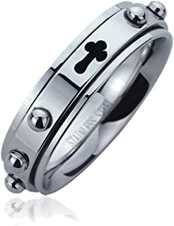6MM Mens Womens Stainless Steel Rosary with Cross Spinner Ring Praying Wedding Bands