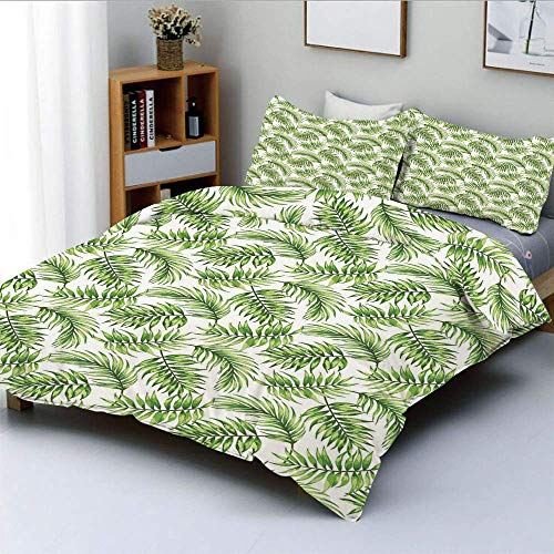 Duvet Cover Set,Exotic Pattern with Tropical Leaves in Watercolor Art Style Jungle Luau Hawaii Decorative Decorative 3 Piece Bedding Set with 2 Pillow Sham,Fern Green,Best Gift