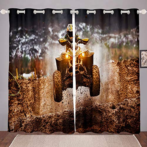 Erosebridal Boys Motorcycle Window Drapes, Youth Motocross Racer Window Treatments, Dirt Bike Curtain Panels for Kids Teens, Cross-Country Extreme Sports Window Curtains Bedroom Decor 104W63L, Brown