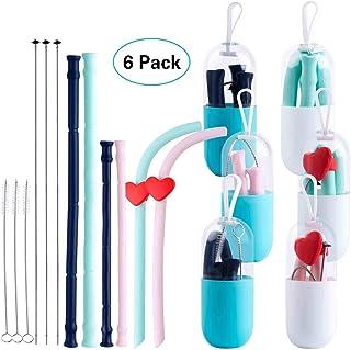 Pajas Reutilizables, Fityou Plegables Pajitas de Beber Reutilizables de Silicona con Cepillo Limpieza y Contenedor Almacenamiento Portátil para Viajes al Aire Libre Sin BPA para Niños y Adulto - 6Pack