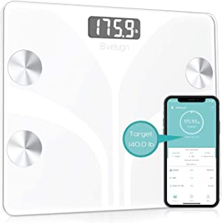 Body Fat Scale, Smart Wireless Digital Bathroom BMI Weight Scale, Body Composition Analyzer Health Monitor with Tempered Glass Platform Large Digital Backlit LCD with Smartphone App - White