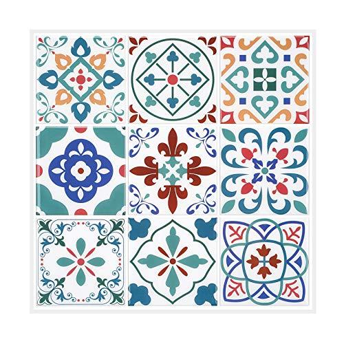 MORCART Adhesivo decorativo para azulejos, diseño de mosaico barroco, color azul y lila, 12 unidades, 30,5 x 30,5 cm