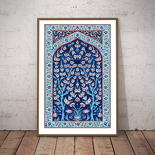 Azulejos turcos Árbol de la vida Arte de la pared Pintura en lienzo Carteles Impresiones Imagen floral otomana tradicional Decoración estética del hogar 50x70cm Sin marco