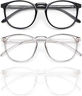 عینک های مسدودکننده نور آبی آبی IBOANN 3 زنانه / مردانه ، قاب مد یکپارچهسازی با سیستمعامل مد ، عینک تقلبی Vintage با لنز شفاف