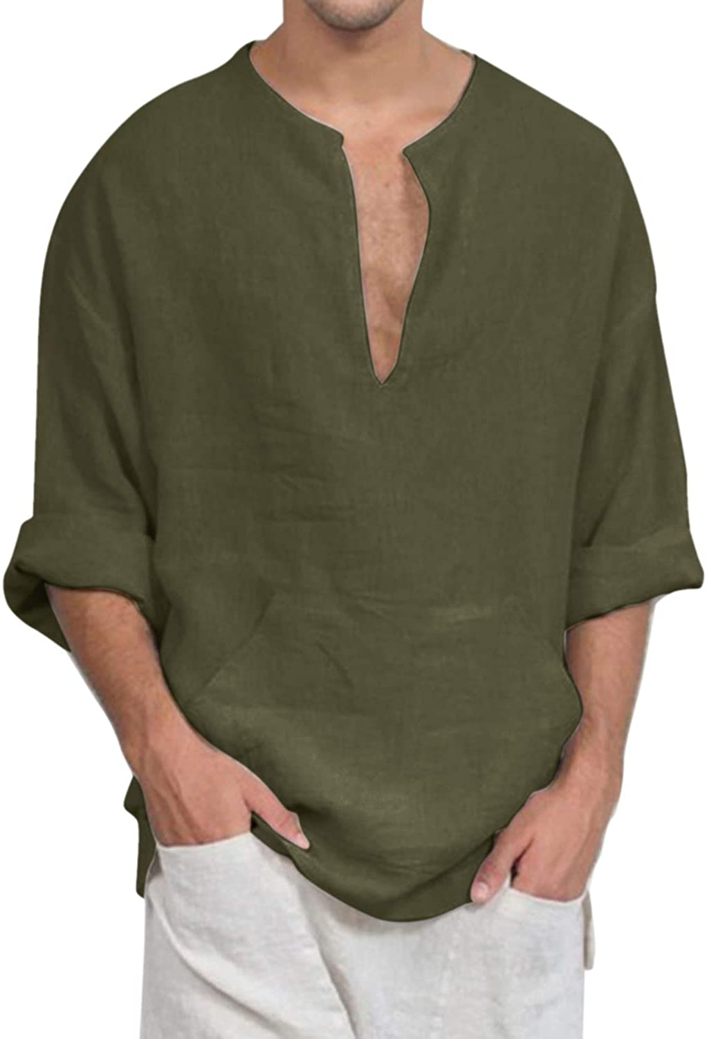 Jacansi Mens Loose supreme Cotton Tunic Casual Max 42% OFF Beach V Long Neck Sleeve