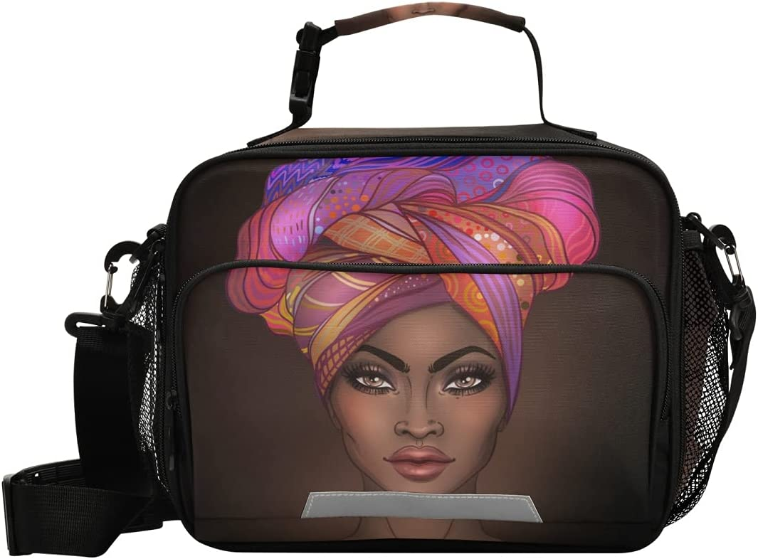 OREZI African American Woman Reusable Lunch Bags for Women Men,Kid's Lunch Box Bags Lunch Container for Girls Boys School Work Picnic
