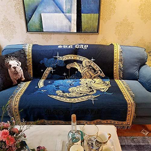 MZW Fundas de sofá de Lino de algodón multifunción, Manta, Guardapolvos, Mantas de Aire Acondicionado para la Cama, Manta de Tiro de Dios Sol, 160x300 cm