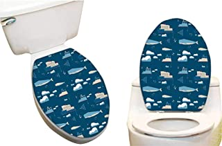 Vinyl Toilet Set Cover Paper Decor for in nordi Style Whale Icebreaker Fashion Toilet Seat Sticker Vinyl Art8 x11