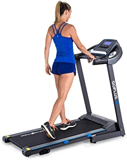 Goplus 2.25HP Electric Folding Treadmill with Manual Incline, Walking Running Jogging Fitness Machine with Blue Backlit LCD Display for Home & Gym Cardio Fitness