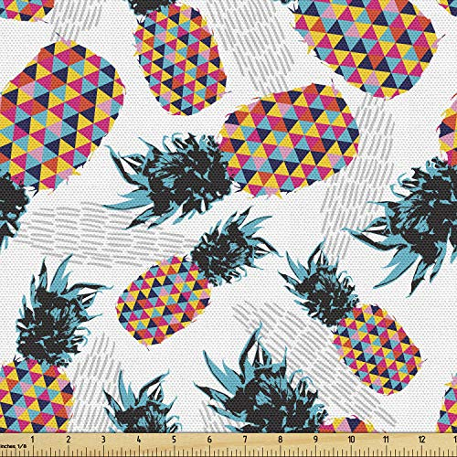 Lunarable Modern Fabric by The Yard, Pineapples with Fractal Geometric Triangle Shaped Graphic Art Print, Decorative Fabric for Upholstery and Home Accents, 1 Yard, Teal Blue