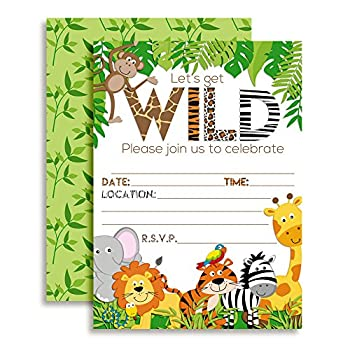 Let s Get Wild Jungle Animal Party Invitations 20 5 x7  Fill In Cards with Twenty White Envelopes by AmandaCreation