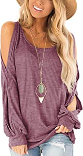 Women's Cold Shoulder Tops Round Neck Lantern Split Long Sleeve Waffle Pullover Sweater Shirts