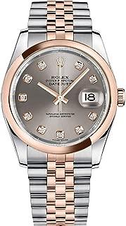 Women's Rolex Datejust 36 Rose Gold Bezel Diamond Watch (Ref: 116201)