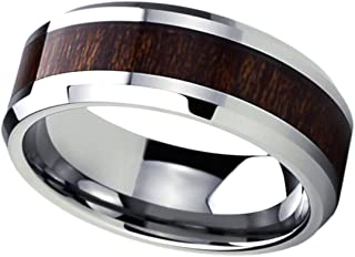 Custom Engraving 8mm Titanium Beveled Edges Wedding Bands Promise Rings Wood Grain Inlay Comfort Fit