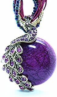 Bohemia Cats Eys Opal National Personality Peacock Pendant Necklace for Woman Fashion Jewelry 18