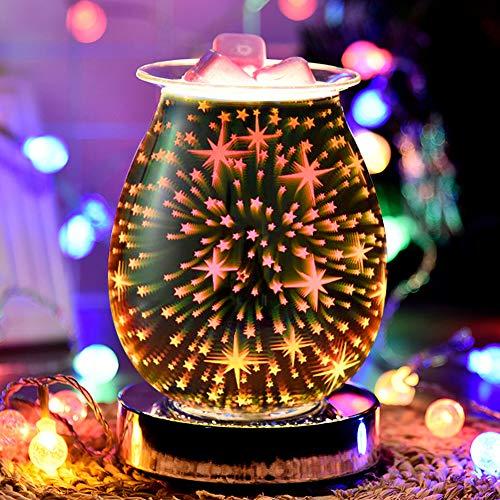 SOOTOP 3D-Aromatherapie-Wachsbrenner-Öllampe, berührungsempfindlicher Sternenfeuerwerk-Effekt, Nachtlichtmaschine, elektrischer Ölbrenner, Wachsschmelzer, erstaunliche Düfte, um Ihr Zuhause zu füllen