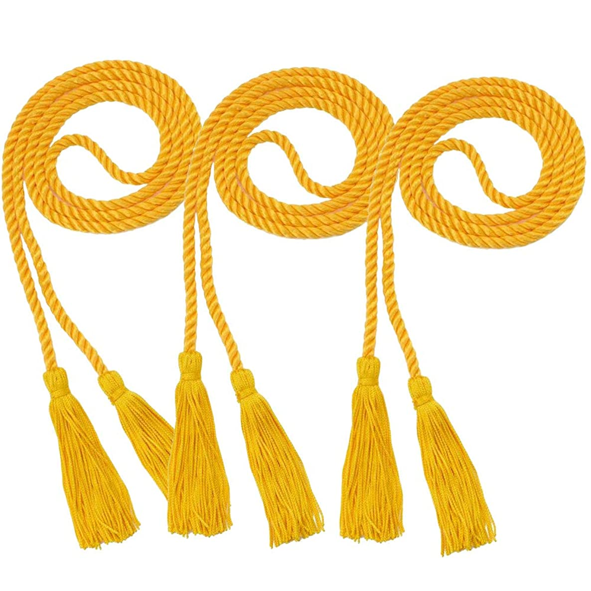 Xushop 3 Pack Graduation Honor Cords,Polyester Yarn Honor Cord with Tassel for Graduation Students for Bachelor Gown (Gold)