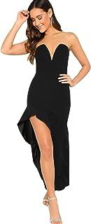 Women's Bandeau Asymmetrical Ruffle Trim Glitter TubeLong Dress