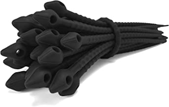 Reusable Silicone Cable Twist Ties Organizer Perfect for Cord Management, Electronics Wire Strips, Kitchen, Garden Rubber Wraps and Gear Zip Tie Straps (7 inches, Non-Velcro), 15 Pack - Black
