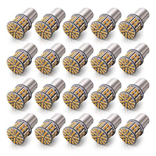 KAFEEK 20× Super Bright 1156 1141 1003 7506 BA15S 50-3014SMD LED Bulbs 12 Volt RV Camper Interior Lights, Warm White