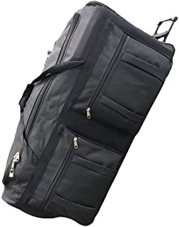 Gothamite 36-inch Rolling Duffle Bag with Wheels   Luggage Bag   Hockey Bag   XL Duffle Bag With Rollers   Heavy Duty 1200D Polyester (Black)