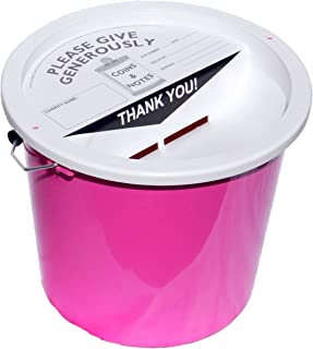 Charity Money Collection Bucket 5.7 Litres - Pink
