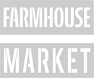 Crafter's Workshop Farmhouse Stencil 2 Pack, Reusable Stenciling Templates for Home Decor and Sign Making - TCW2168 Farmhouse and TCW2174 Market