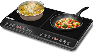 COSTWAY 1800W Double Countertop Burner, Digital Induction Cooker with Two Separate Heating Zones, Timer, 8 Temperature and Power Levels, Kids Safety Lock, Touch Sensor Control, Suitable for Iron, Stainless Steel Cookware, Black