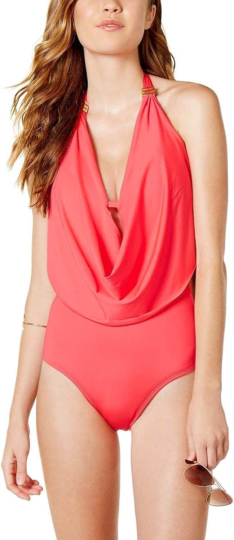 Bar III Womens Draped Monokini OnePiece Swimsuit Pink XS