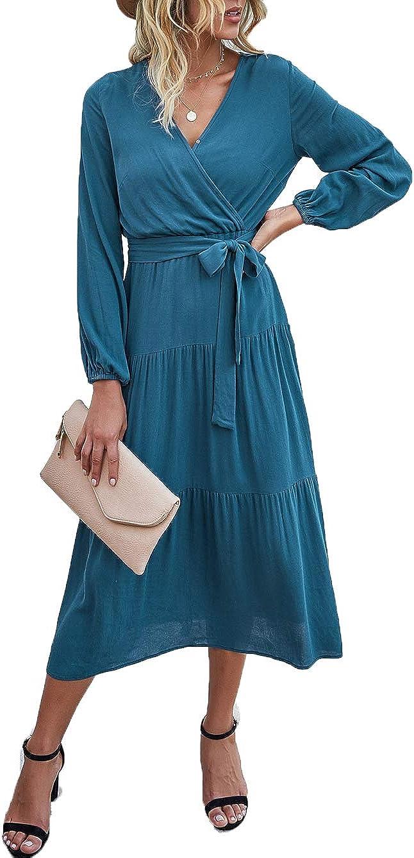 PRETTYGARDEN Women's Long Sleeve Midi Long Dress Wrap V Neck Tiered Fall Vintage Maxi Dresses