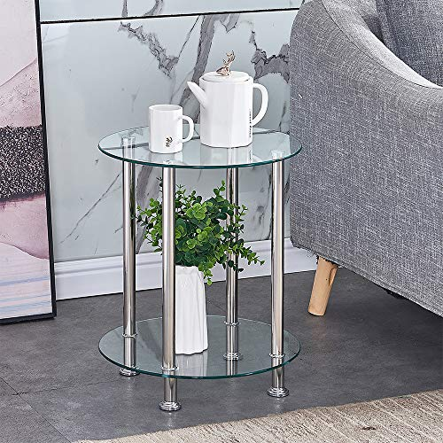 Huisen Furniture Living Room Clear Glass Coffee Table Small Side End Table Round Sofa Modern Tea Table with Storage 2 Tiers (clear round table)