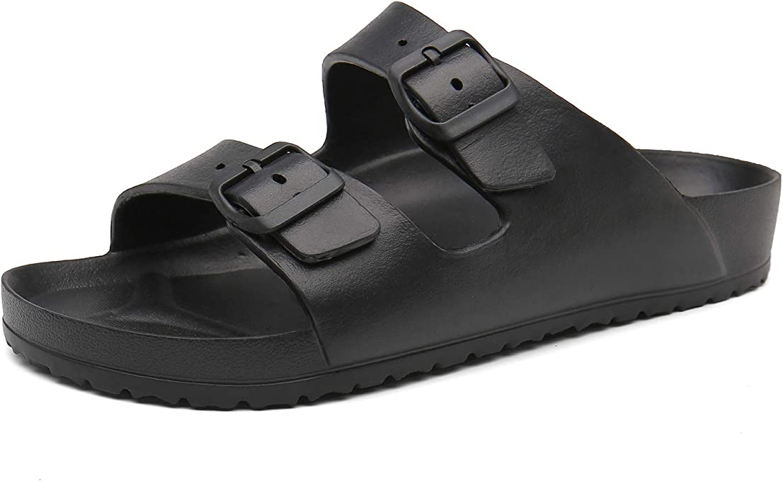 SAGUARO Mens Womens Adjustable Slip on EVA Double Buckle Slides Lightweight Sandals Slippers