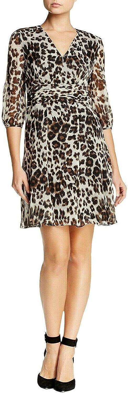 Diane von Furstenberg Snow Cheetah Printed Silk A-Line Women's Dress