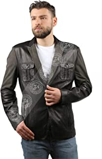 Erkek Gerçek Deri Spor Blazer Slim Fit Punto Kumaş Kamuflaj Siyah BLZ-958-18209 FA1