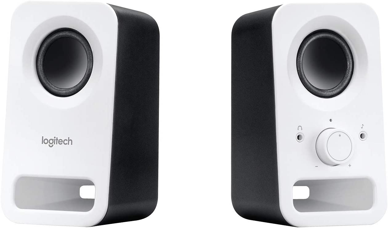 Logitech Z150 Sistema de Altavoces Compacto, Entrada Audio 3.5 mm, Controles Intregados, Toma Auriculares, Enchufe EU, Ordenador/Smartphone/Tablet/Reproductor de Música, Blanco