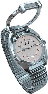 VISIONU Reloj De Pulsera Braille para Invidentes o Personas Mayores (Rosa Dial, Banda Expandible Acero)