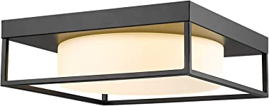 Ceiling Light Fixture, CALDION 12 Inch 24W 950 Lumen LED Flush Mount Light Fixture, Dimmable 3000K, Black Finish with Frosted