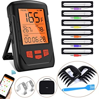 Bluetooth Meat Thermometer, Wireless Digital BBQ Cooking Thermometer for Oven Grill, 6 Probes Meat Thermometer for Grillin...