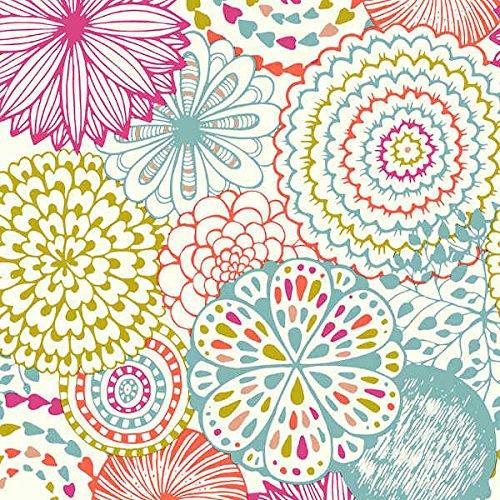 Tela por metros de loneta estampada - Ancho 280 cm - Largo a elección de 50 en 50 cm | Mandala. Flores - Fucsia, azul, verde, naranja