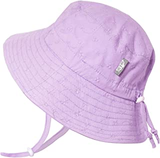 JAN & JUL Girls Breathable Cotton UV Protection Sun-Hat, Adjustable Chin-Strap, Baby and Kids - - L: 2-5Y
