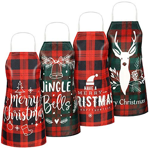 4 Pieces Christmas Aprons Buffalo Plaid Xmas Adjustable Cooking Aprons with Elk Snowflake Patterns and Words Merry Christmas Buffalo Check Kitchen Baking Apron