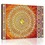 ForWall Bilder Canvas Golden Mandala in Rot - O1 (100cm. x 75cm.) Leinwandbilder Wandbild AMFPP10119O1