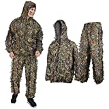 Ghillie Suit for men,Adult 3D Leafy Camouflage Ghillie Suit Youth Outdoor Woodland Hunting Clothes Camo Outfit Ghillie Suit for Men Jungle Wild Animal Photography for Hunters