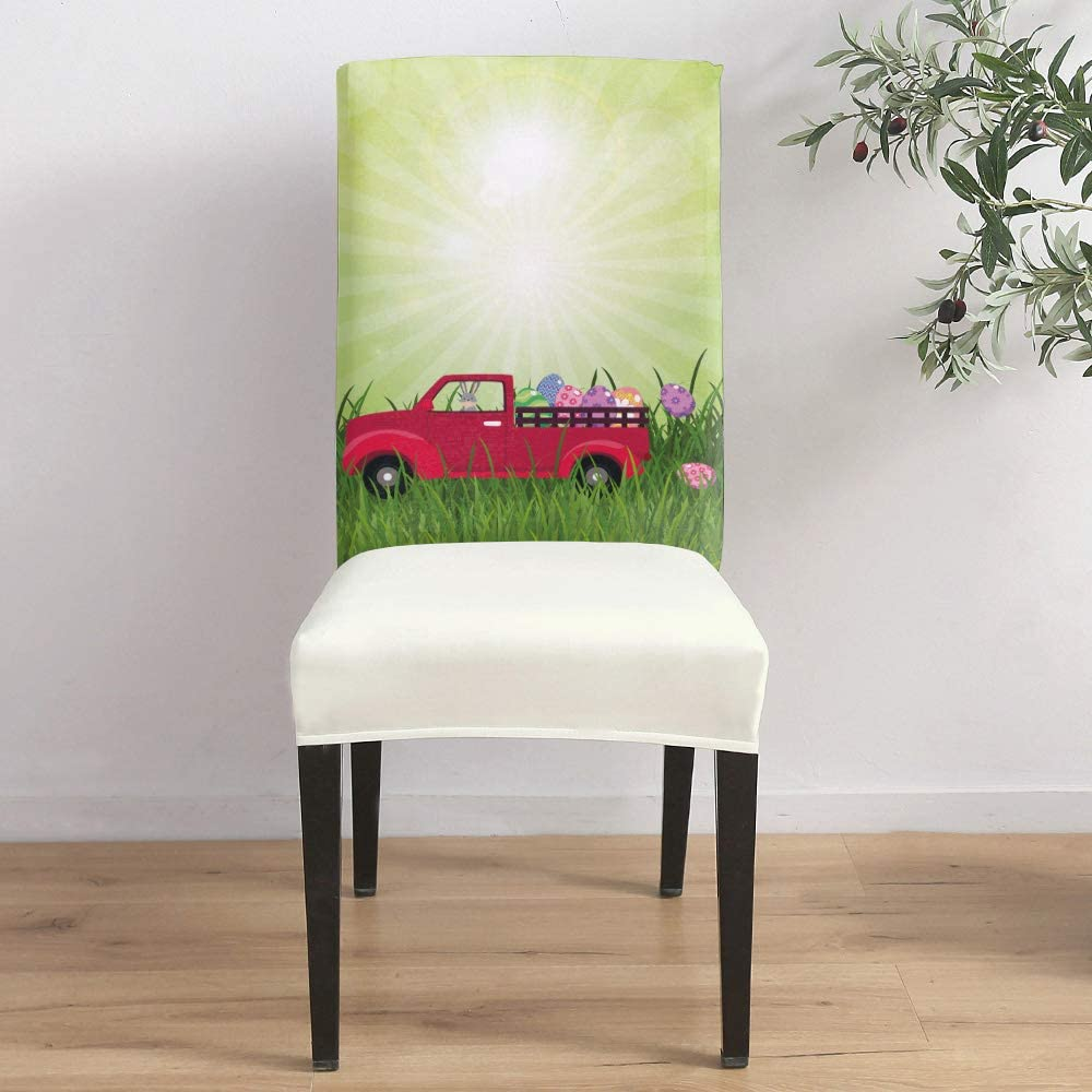 Dining Room Stretch Chair Cover Slipcover Car Easter C bunny Max 52% OFF Detroit Mall Red