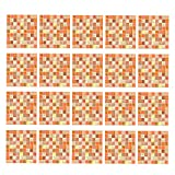 FLAMEER 20 Unids DIY Azulejo Cuadrado Pegatinas De Pared De Pared Mosaico Azulejo Decal Home Room Decor - Naranja