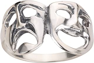 Sterling Silver Comedy Tragedy Theatre Mask Ring