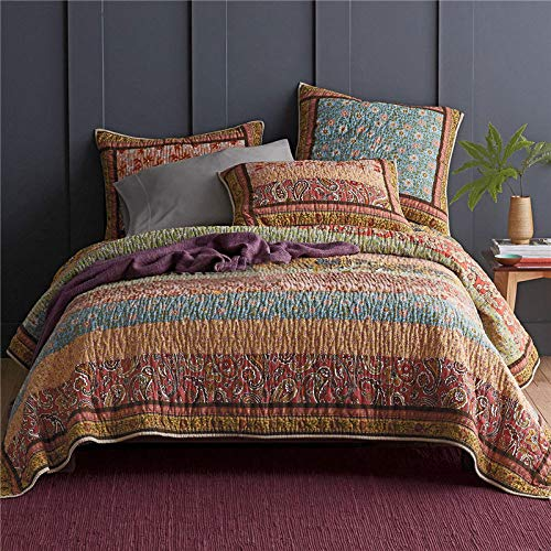 High-end Hand Made Patchwork Quilted Quilt Coverlets Bed Throw 3-Piece Double Super King Natural Cotton Bedspread Comforter All-Season Multifunction Blanket 235x269cm + 2 Pillowcases 50x70cm