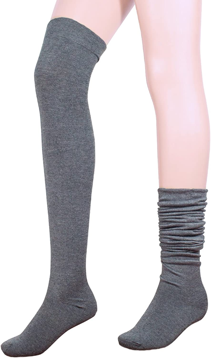 Dahlia Women's Wool Blend Socks  Above the Knee Solid color
