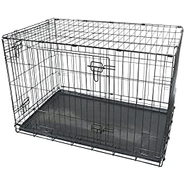Black Metal Folding 36″ Pet Crate Dog Crate Cage Transport